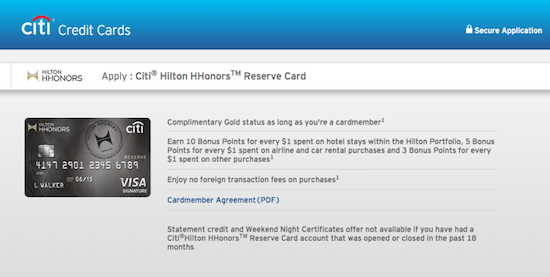 » Review of the Citi Hilton Hhonors Reserve Hotel Credit Card