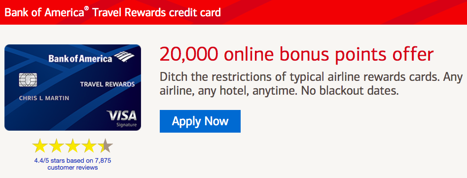 Bank Of America Travel Award Credit Card