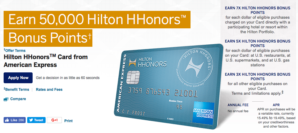 American Express Hilton HHonors Rewards Card Review