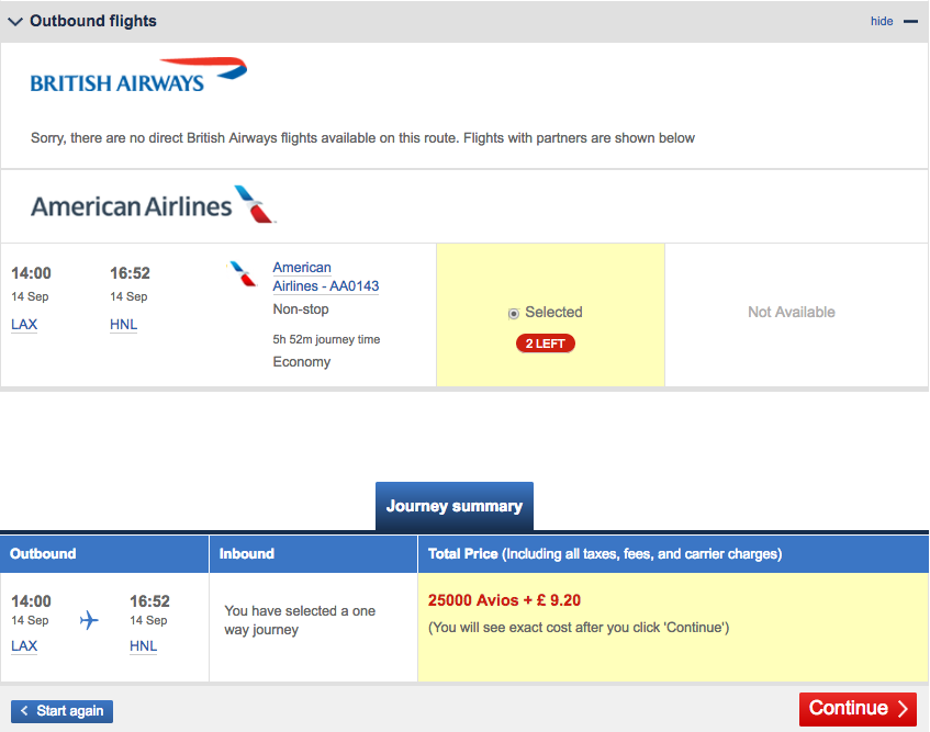lax-hnl-avios-flight-selection