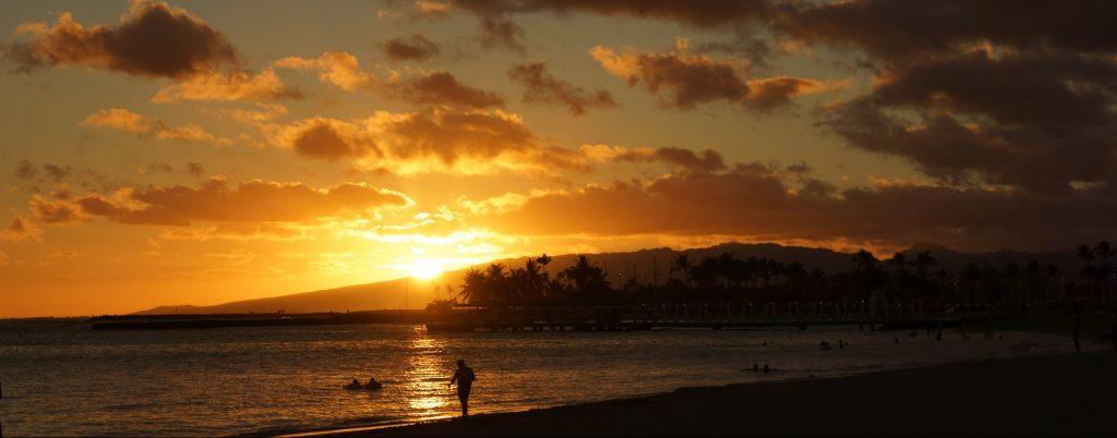 Sunset over beautiful Waikiki Beach in Hawaii