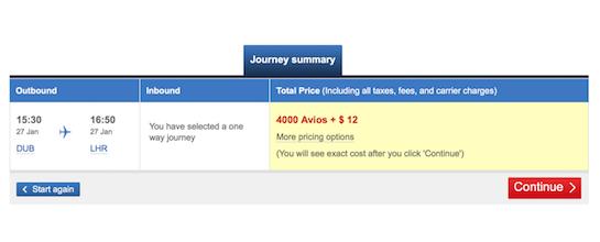 Fly British Airways Dublin to London Heathrow and avoid the fees for 4,000 Avios