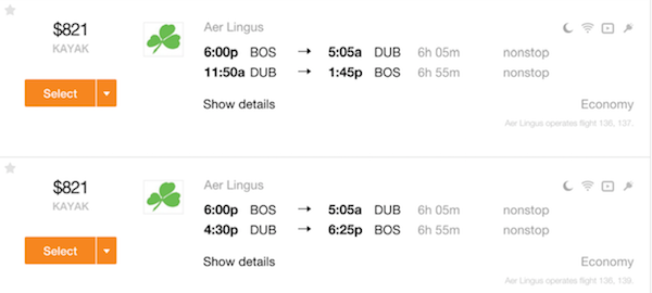 Return flights Boston - Dublin on Aer Lingus