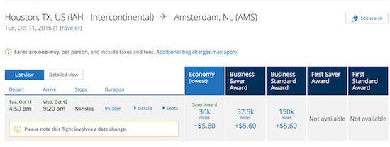 United Business class awards Europe