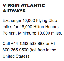 Transfer Virgin Atlantic to Hilton Honors