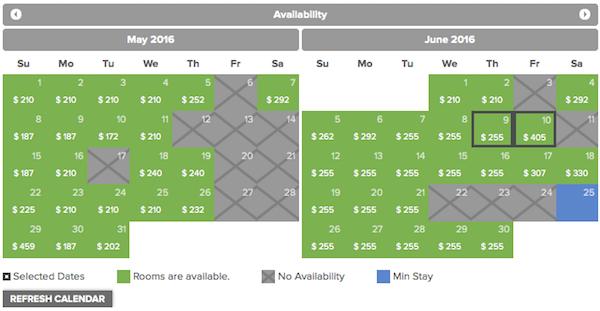 Prices for the Dolce Silverado in Napa.