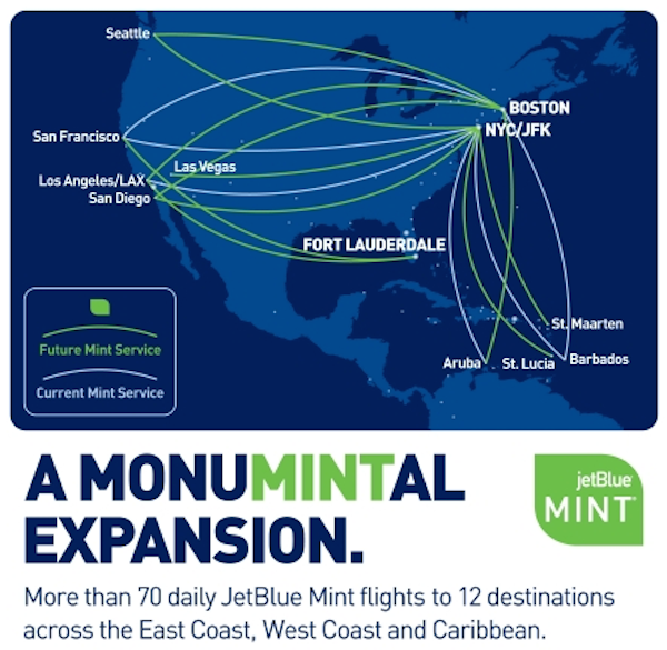 New JetBlue Mint Routes