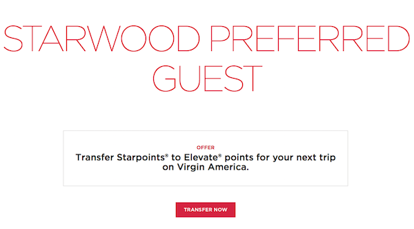 SPG Transfers To Virgin Elevate Now Open