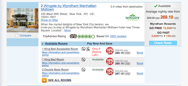 Prices at the Wingate by Wyndham Manhattan.