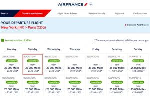 Flying Blue One-way Economy Class Award New York to Paris