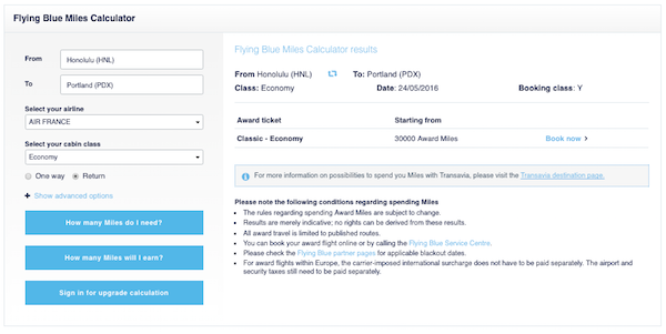 The Flying Blue award calculator will show miles required but not fees and taxes.