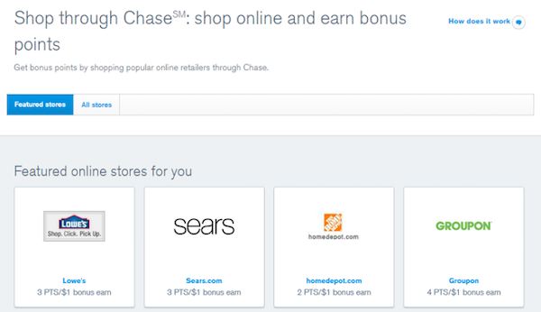 The Shop through Chase℠ portal features over 240 stores to help you earn up to 6x bonus points on purchases.