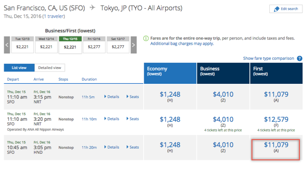 United First Class cash price between SFO-HND