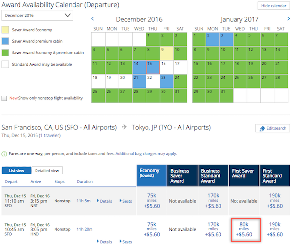 United MileagePlus First Saver Award between SFO-HND