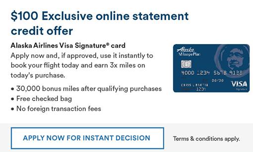 Alaska Mileage Plan $100 Statement Credit