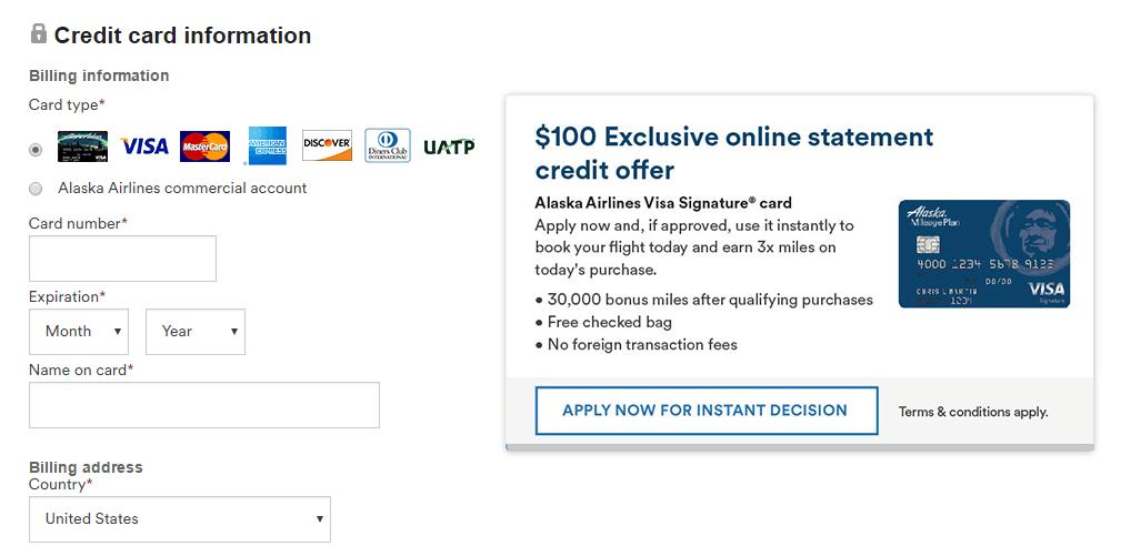 Alaska MileagePlan $100 Statement Credit Instructions