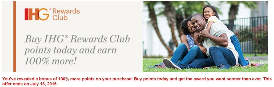 Receive up to a 100% Bonus on purchased IHG Rewards Club Points