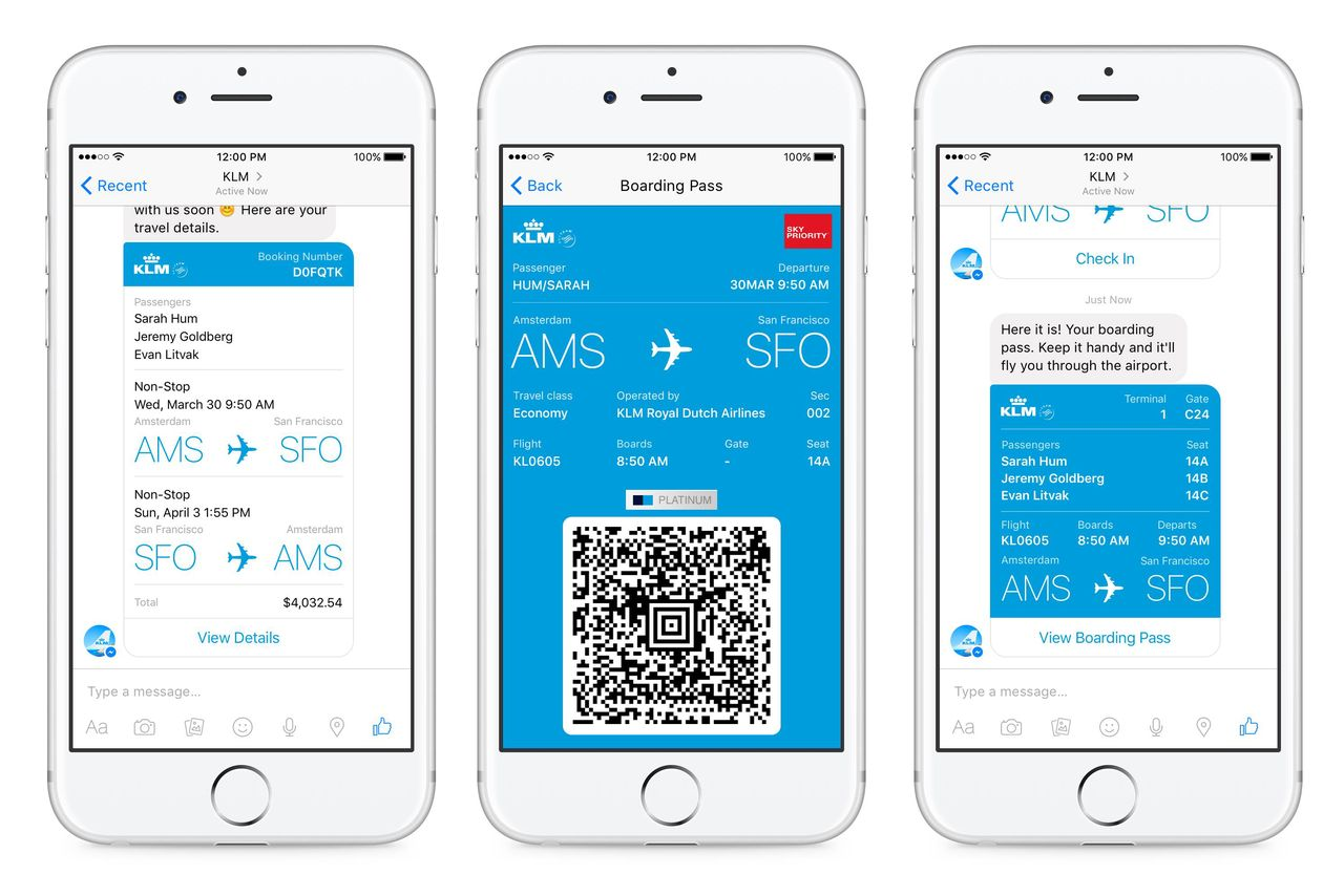 All of your flight information will be available in a single conversation thread.