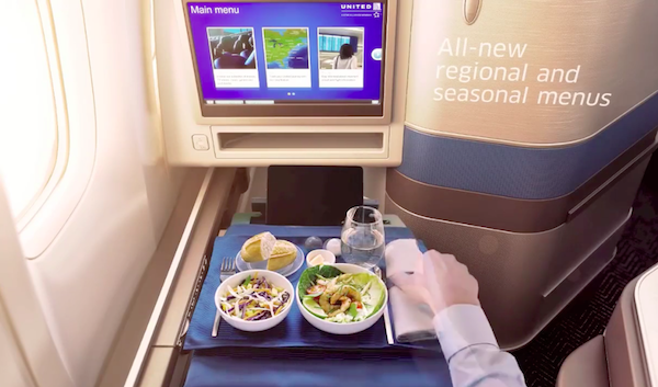 United is revamping the menu as part of its business class overhaul.