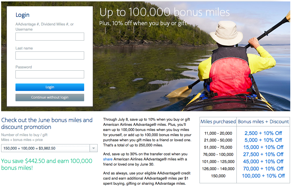 Receive up to a 100,000-mile bonus on purchased AA miles