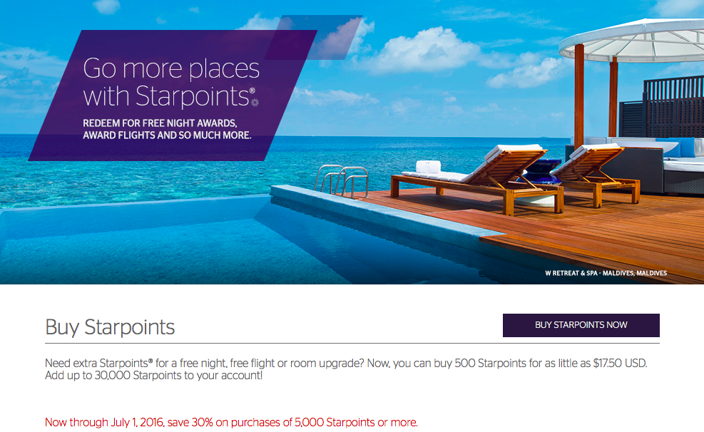Purchase Starwood Preferred Guest points at a 30% Discount