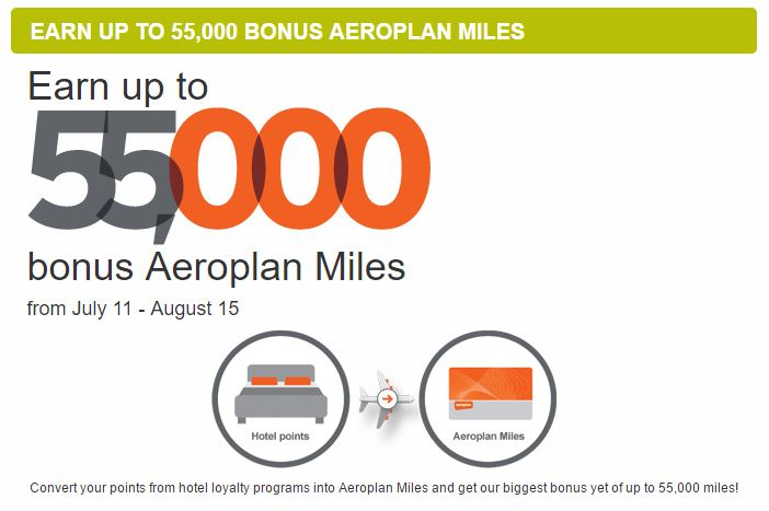 Earn up to 55,000 bonus Aeroplan Miles