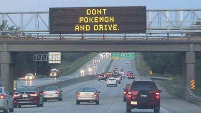 The sign says it best, don't Pokémon and drive folks.