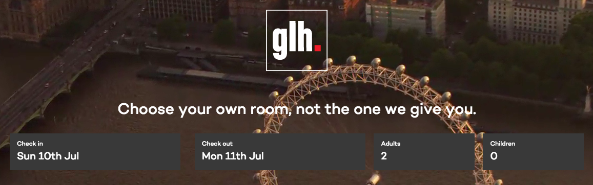 The new GLH Hotels website chooseyourownroom.com
