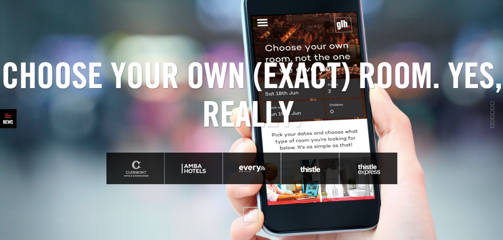 The new booking website from GLH Hotels, Choose Your Own Room
