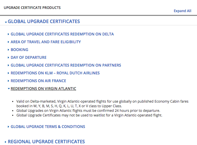 Delta Global Upgrade Certificates can now be used on Virgin Atlantic flights