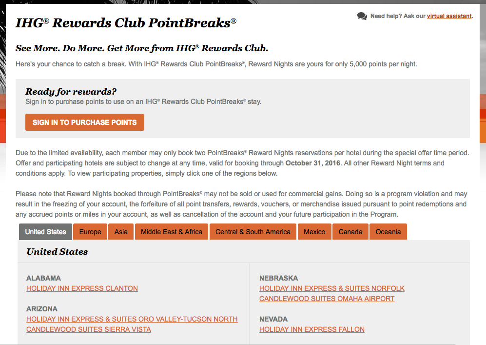 IHG PointBreaks list of hotels though to October 31, 2016