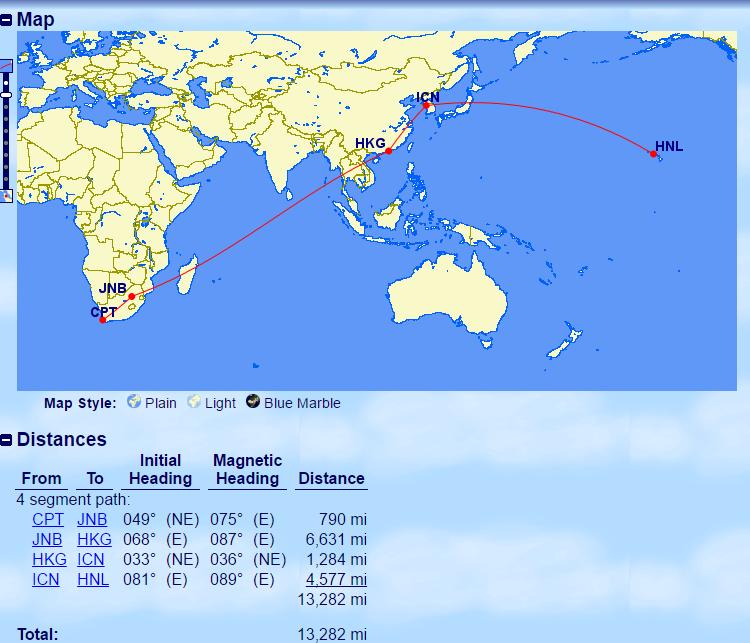 Cape Town > Johannesburg > Hong Kong > Seoul > Honolulu