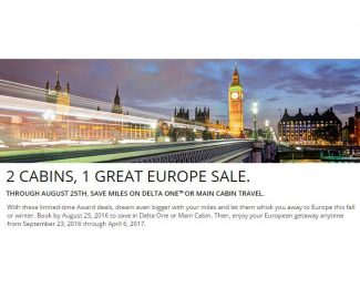 Delta Award Sale Europe August 2016