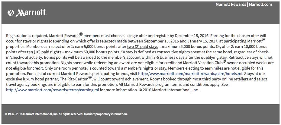 Marriott MegaBonus Fall 2016 Terms and Conditions
