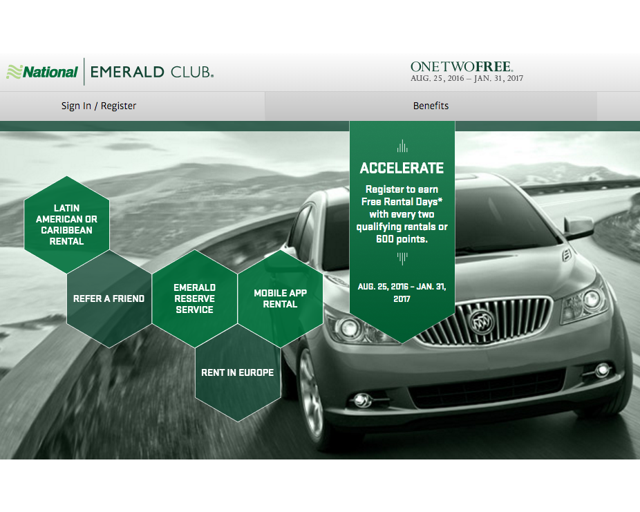 National Emerald Club One Two Free Promotion Through 2016