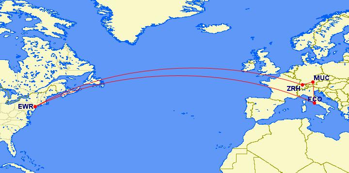 Newark to Zurich to Munich to Rome to Newark