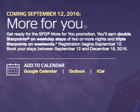 Win SPG Points and New SPG 'More For You' Fall 2016 Promo