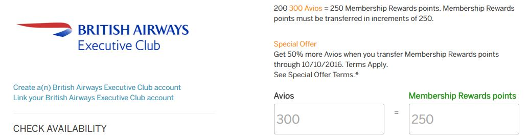 American Express Membership Rewards to British Airways Avios Transfer Bonus August 2016