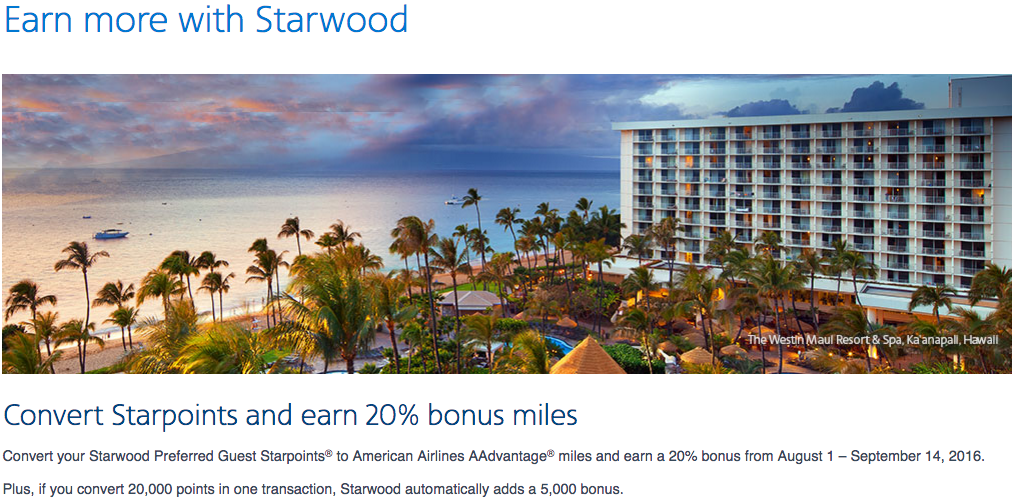 Receive an extra 20% bonus AAdvantage miles on SPG transfers