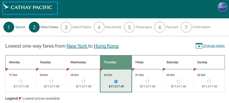 Cathay Pacific First Class NY to Hong Kong