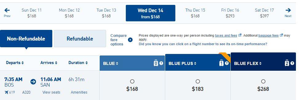 JetBlue Boston to San Diego Early Morning