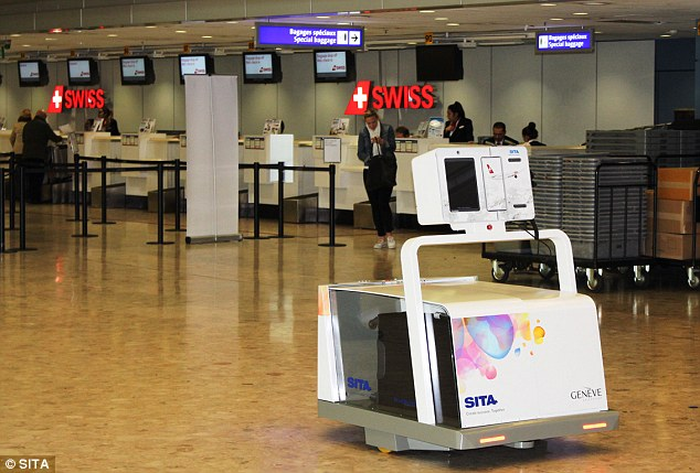 Leo the Baggage Robot from SITA acts as a bag drop, allowing you to check your bags before entering the departure terminal
