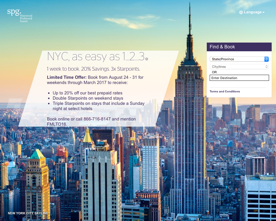 Starwood NYC, as easy as 1 2 3 promotion