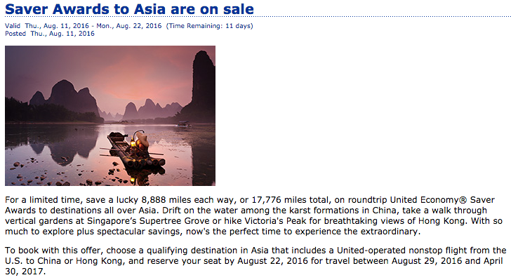 United Saver Awards to Asia are on sale