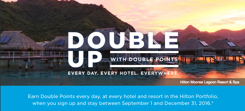 Hilton Honors Double Up Fall 2016 Promotion