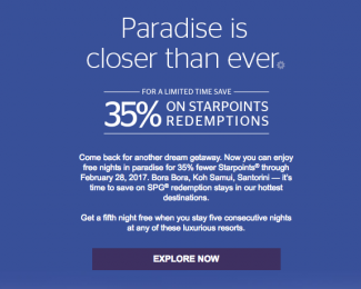 SPG 35 Percent off Luxury Redemptions Fall 2016