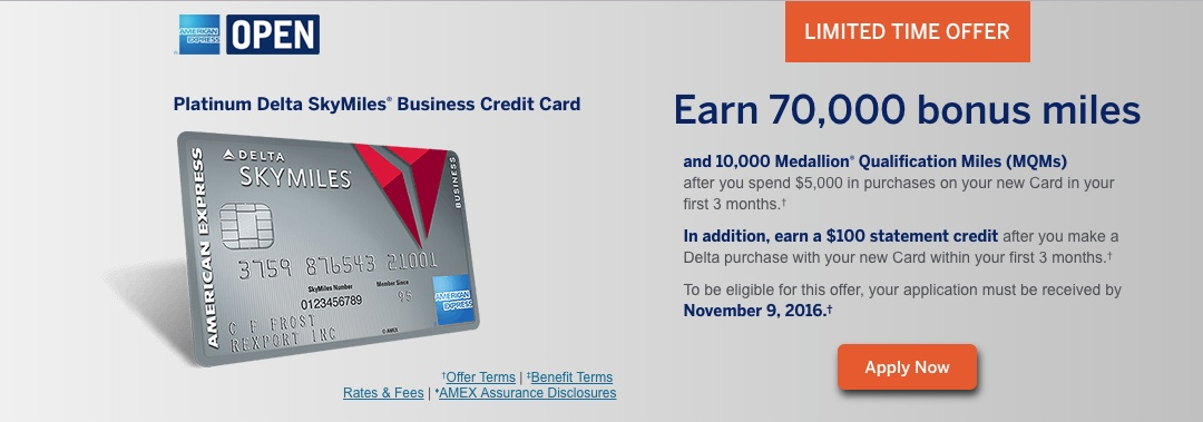Limited Time fers on 4 Delta American Express Cards