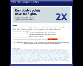 Southwest Earn double points on fall flights