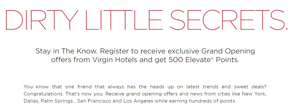 Virgin Hotels 500 Elevate Points Promo