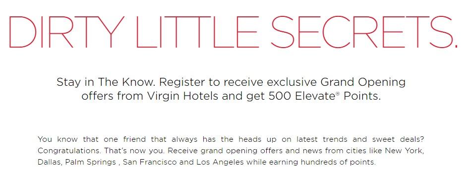 Virgin Hotels 500 Elevate Points Promo